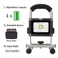 LOFTEK® 10W LED Work Light/Portable Work Lights with 8800mAh Detachable Battery / Rechargeable Work Shop Lights/ Outdoor Lighting and Emergency Light-Grey
