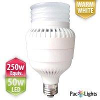 PacLights Ultra250 Performance LED Light Bulb 50-watt, Warm White, 250w Equivalent Replacement (4119 lumens), E26 Medium Base