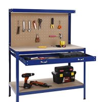"VonHaus Heavy Duty Steel Workbench with Pegboard, Drawer & Shelf - 500lb Capacity (47.2""L x 23.6""W x 61""H)"