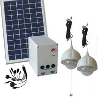 10W Panel Solar Home System Kit - Including Cell Phone Charger - 2 Strong LED Lights