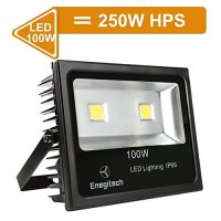 Enegitech 100W Super Bright Outdoor Security LED Flood Light 250W HPS Bulb Equivalent IP66 10150lm 6000K Daylight White Landscape Spotlights Wall Lamp