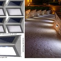 Great New Solar Outdoor Steps Lights. Best White LED Waterproof Lamp for Stairs Garden Patio Pathway Deck Wall Fence Post. Sun Powered Warm Decorative Lighting. 4-Pack