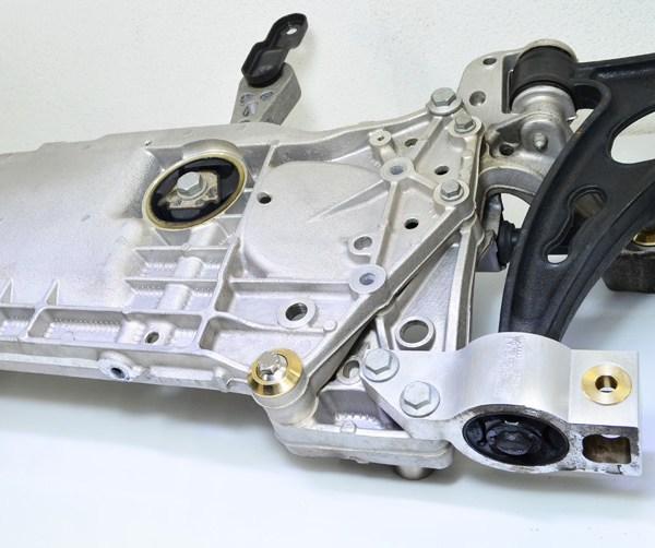TyrolSport Front Subframe Kit installed on subframe