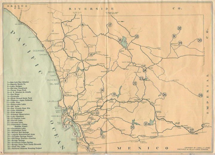 Map of San Diego County circa 1937 Scripps Ranch Old Highway 395