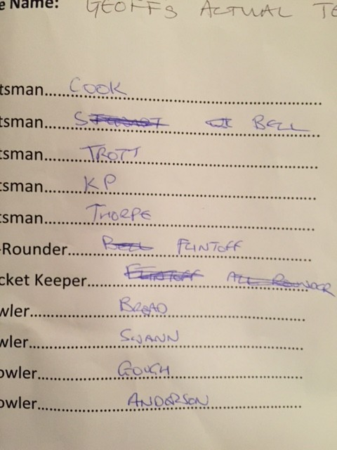 geoff miller team sheet