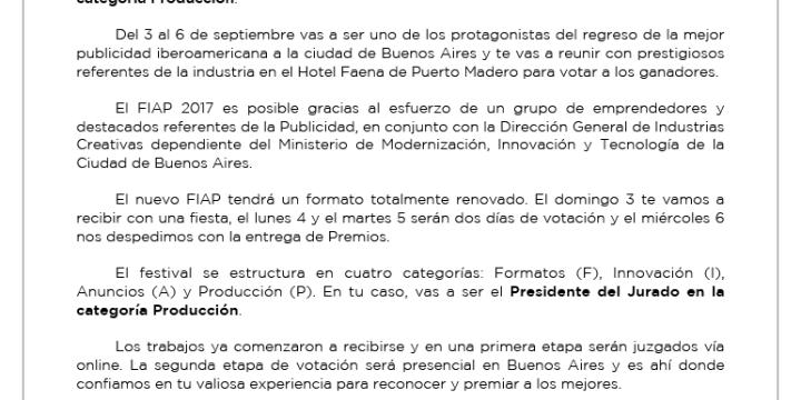 Simón Bross: Presidente del Jurado en el FIAP 2017 en la categoría Producción