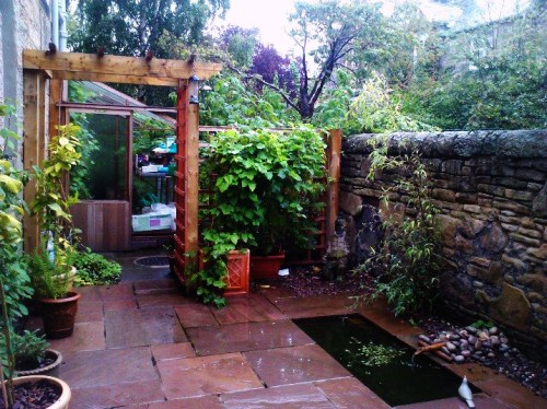 Sandstone patio with water feature and pergola.