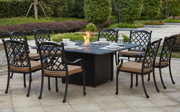 """Patio Furniture Dining Set Cast Aluminum 64"""" Square ... on Outdoor Dining Tables With Fire Pit id=92560"""