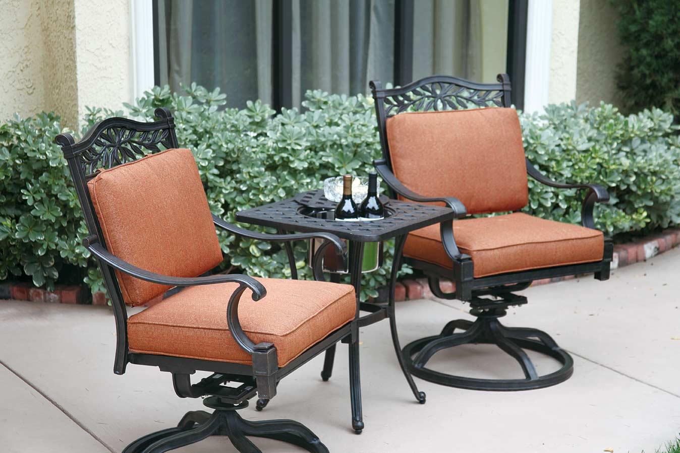 patio furniture bistro set cast aluminum swivel rocker 3pc charleston