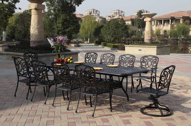 patio furniture dining set cast aluminum 92 120 extension table 11pc florence