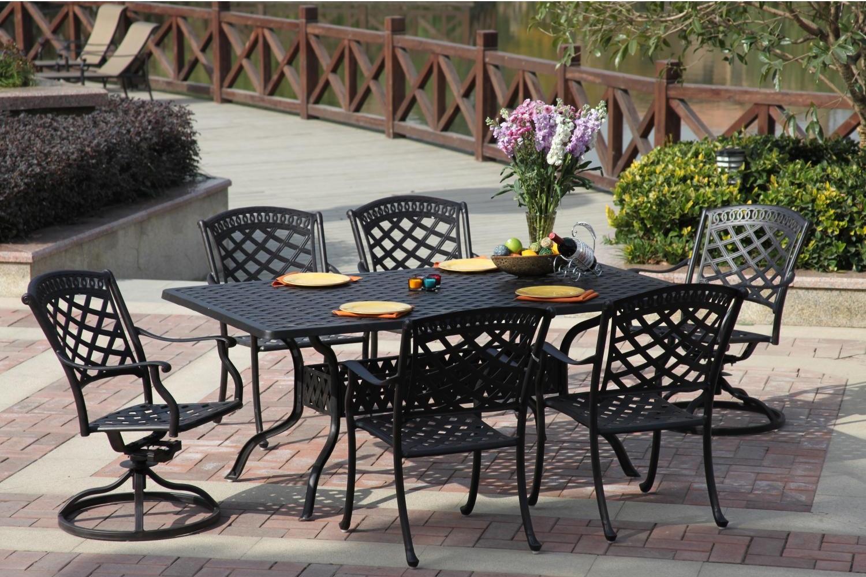 patio furniture dining set cast aluminum 72