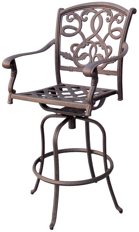 patio furniture bar stool swivel cast aluminum santa monica