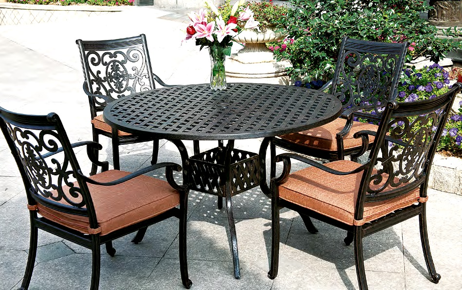 patio furniture dining set cast aluminum 48