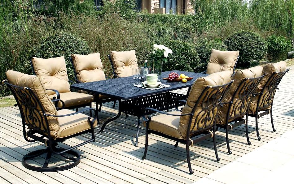 patio furniture dining set cast aluminum 92
