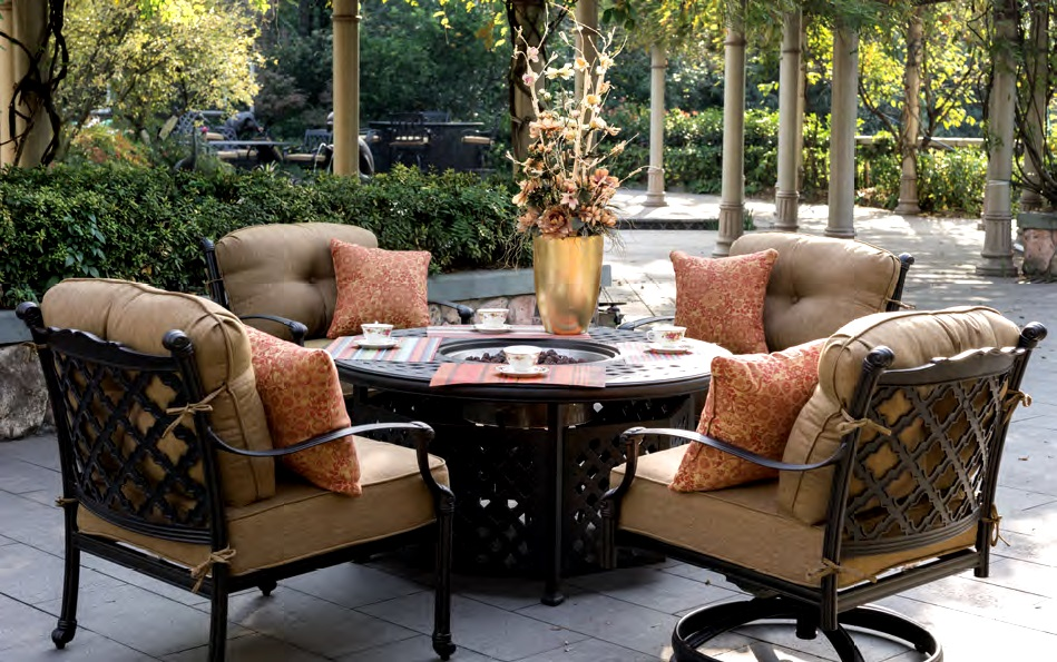 Patio Furniture Deep Seating Chat Group Cast Aluminum Fire ... on Outdoor Dining Tables With Fire Pit id=50848