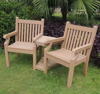 Sandwick Winawood 2 Seater Wood Effect Love Seat Teak