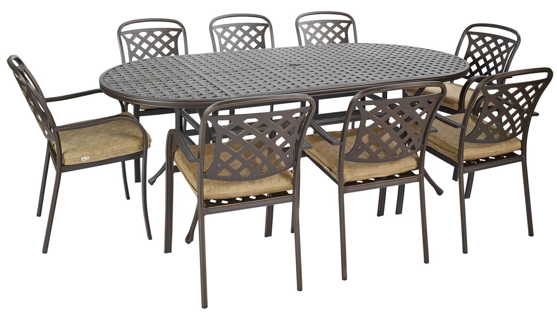 Berkeley Cast Aluminium Oval 8 Seater Garden Dining Set 1099 Garden4Less UK Shop