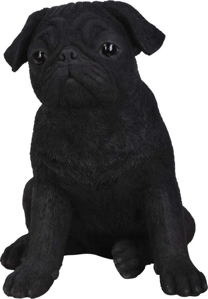 Black Pug Resin Garden Ornament 2999 Garden4Less UK Shop