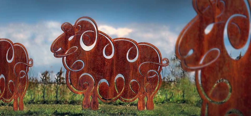 Sheep Sculpture Rusted Metal Garden Sculptures Garden Art
