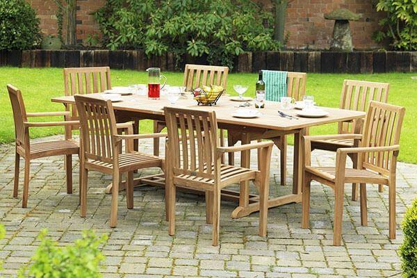 rectangle 8 seater outdoor teak garden patio dining set