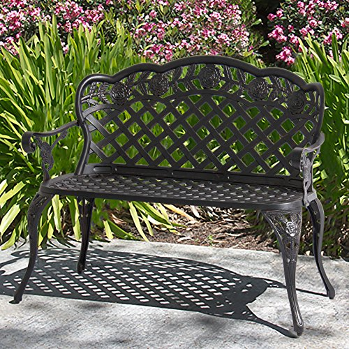 BCP Aluminum Patio Bench w// Antique Brushed Copper Finish Lattice Detail