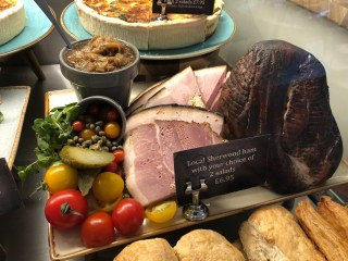 Food displays in the deli counter in the cafe...