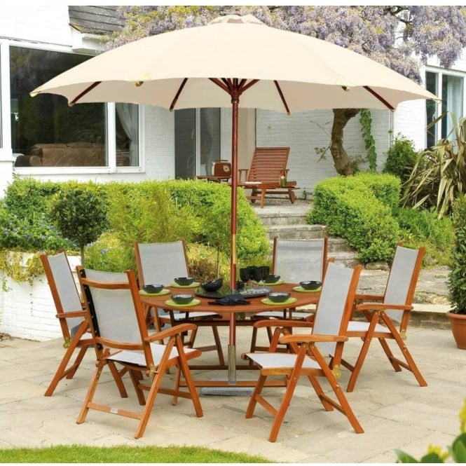 cornis folding round table outdoor dining furniture set 6 person