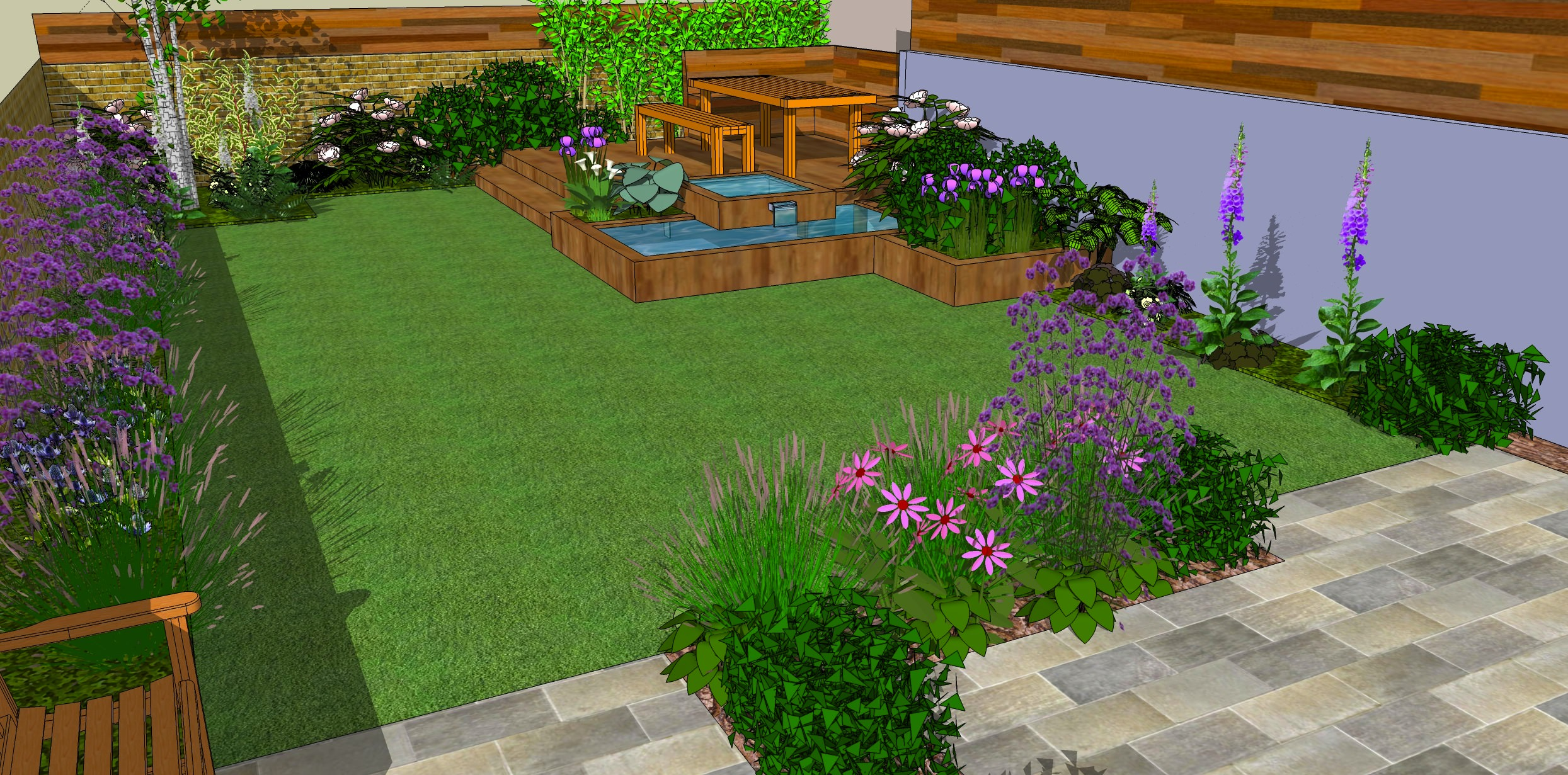 Low Maintenance garden designs - Garden Club London on Patio And Grass Garden Ideas id=15874
