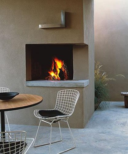 Open-Corner Fireplace Trey Jordan Architecture Santa Fe, NM