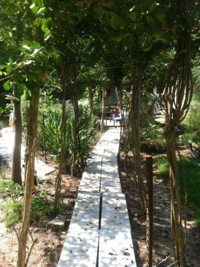Pathway through the trees using leftover marble slabs