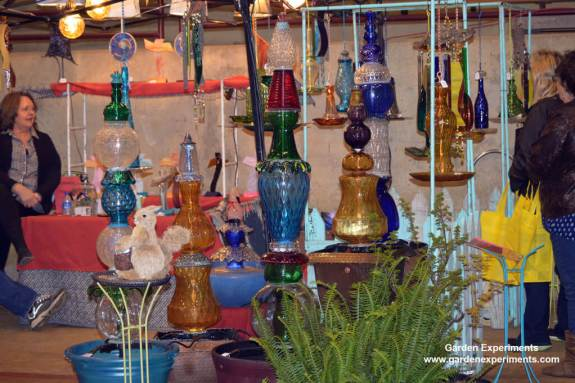 Artists work - converting old glass pieces into fountains and bird baths