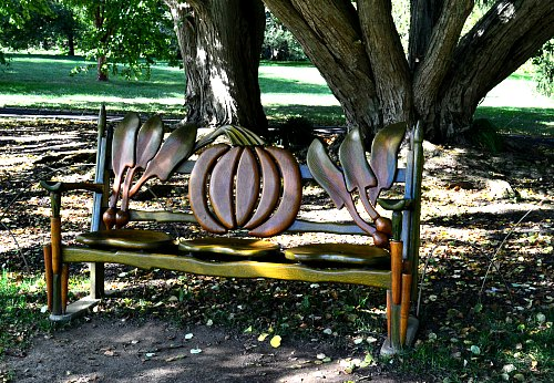Your choice, common bench or functional piece of art, in Chanticleer Gardens, by Robert Pavlis Adding Art to the Garden