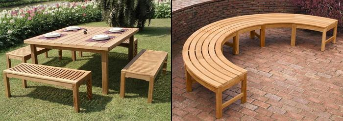 Backless Benches Curved And Straight Teak