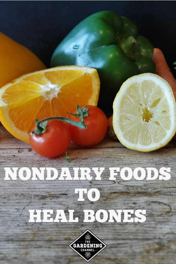 oranges tomatoes peppers with text overlay foods to heal bones