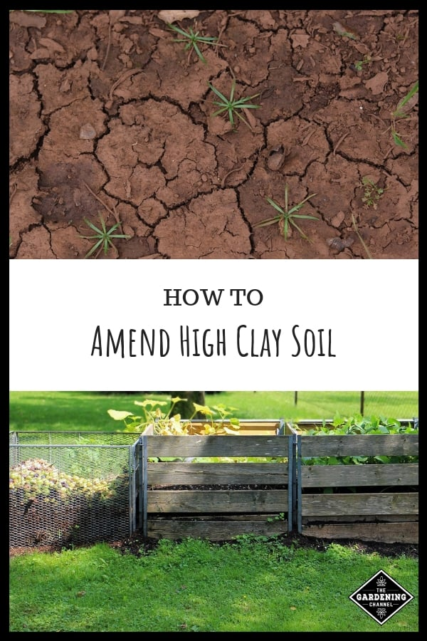 clay soils and compost bins with text overlay how to amend clay soils