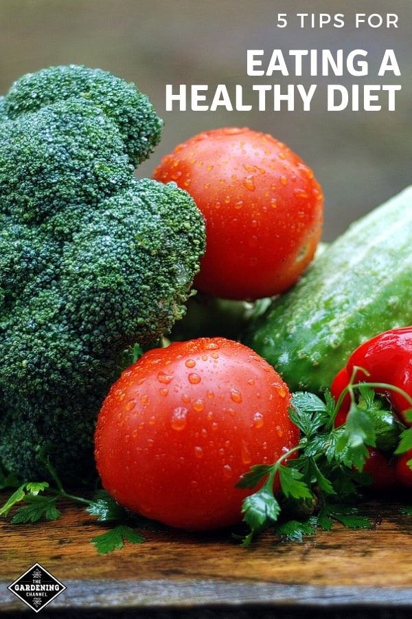 fresh vegetables with text overlay five tips for eating a healthy diet