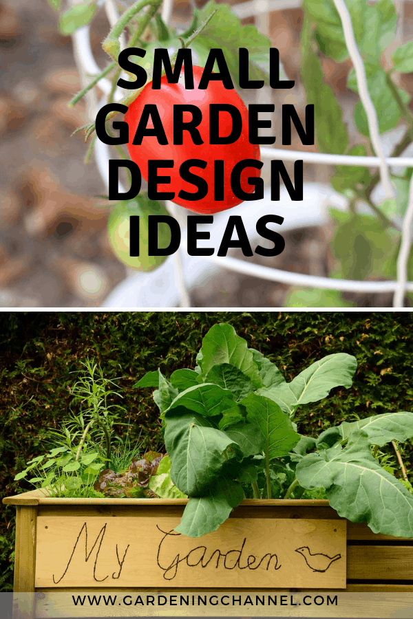 container tomatoes and raised bed garden with text overlay small garden design ideas
