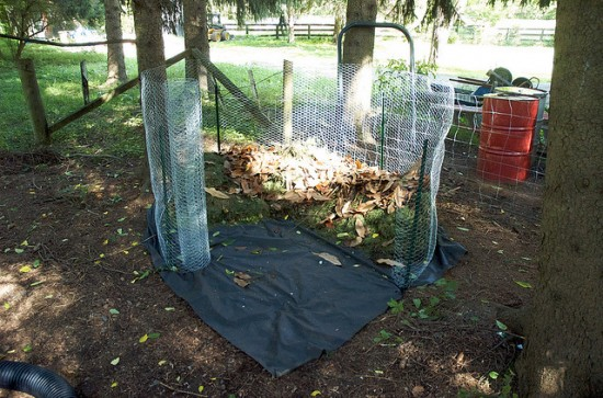 Easy mesh-enclosed DIY compost bin