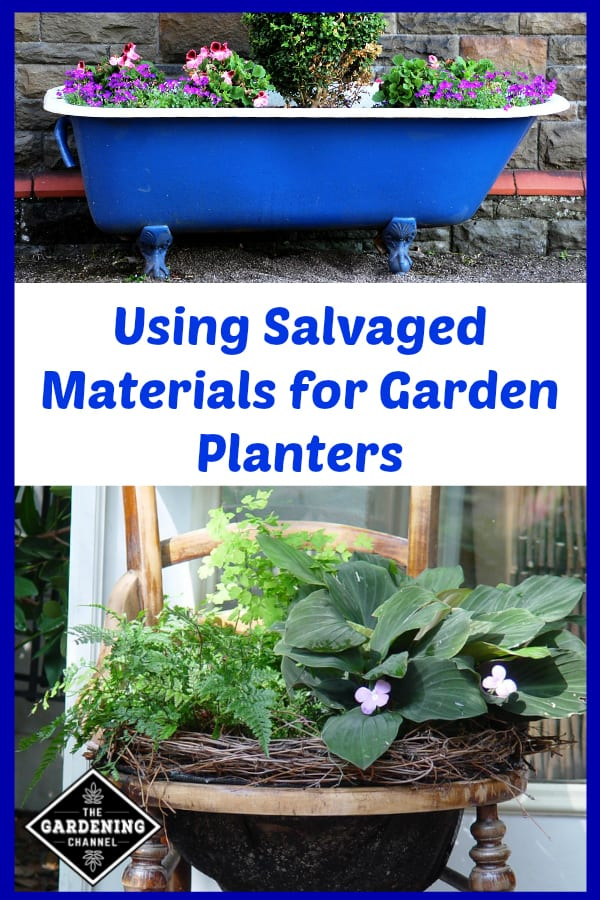 Yard Sale Savvy: Using Salvaged Materials for Garden Planters ... Garden Planters Com on garden urns, garden patios, garden yard spinners, garden pots, garden ideas, garden pools, garden beds, garden vegetable garden, garden arbors, garden plants, garden boxes, garden bench, garden art, garden accessories, garden walls, garden trellis, garden steps, garden seeders, garden tools, garden shrubs,