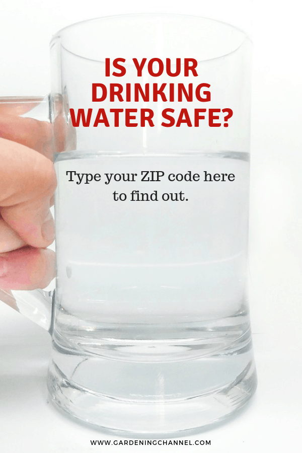 glass of tap water with text overlay is your drinking water safe type your zip code here to find out