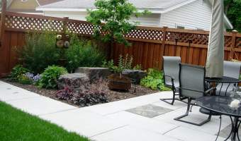 Patio with adjacent garden seating