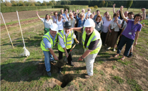 Breaking the ground to start the construction of the new RHS Field Research Facility at RHS Garden Wisley, Surrey. Pic RHS