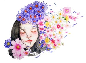 Young girl with floaty dark hair with a relaxed smile on her face and eyes closed. She has beautiful flowers floating around her head. Some seem to be blowing in the breeze.