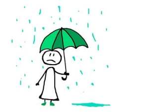 Cartoon girl displaying sadness under an umbrella. It's raining she is having negative thoughts