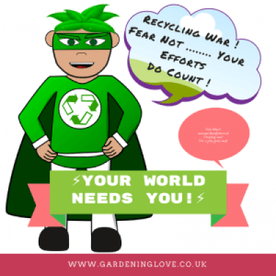 Recycling war. Your efforts count. Recycling superhero tells you that your individual recycling efforts matter. Your world needs you.
