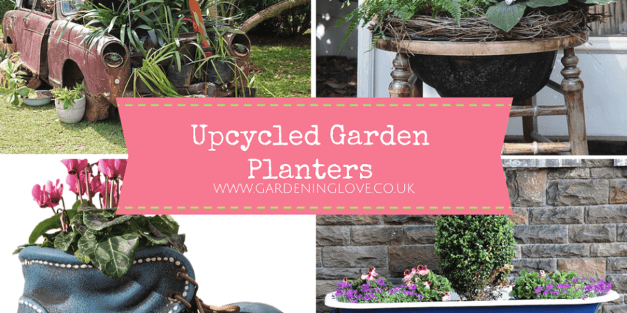 Garden planter ideas. How to upcycle unwanted items into garden planters and plant pots. #recycle #upcycle #gardening #gardeningideas