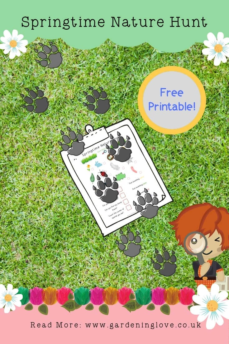 springtime nature hunt for children. Head outdoors with the children. Free printable with the blog post. #springtime #spring #nature #naturehunt #springtimenaturehunt #scavengerhunt #springscavengerhunt #childrensactivities #childrensnatureactivities #printable #freeprintable