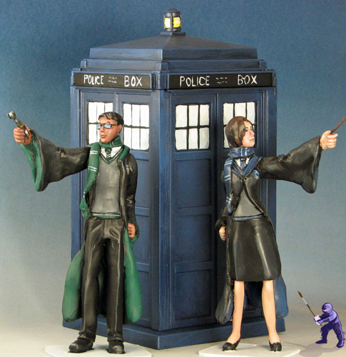 Doctor Who TARDIS wedding cake toppers   Miniature Showcase   Wyrd     Tardis and wands jpg i 1861439061