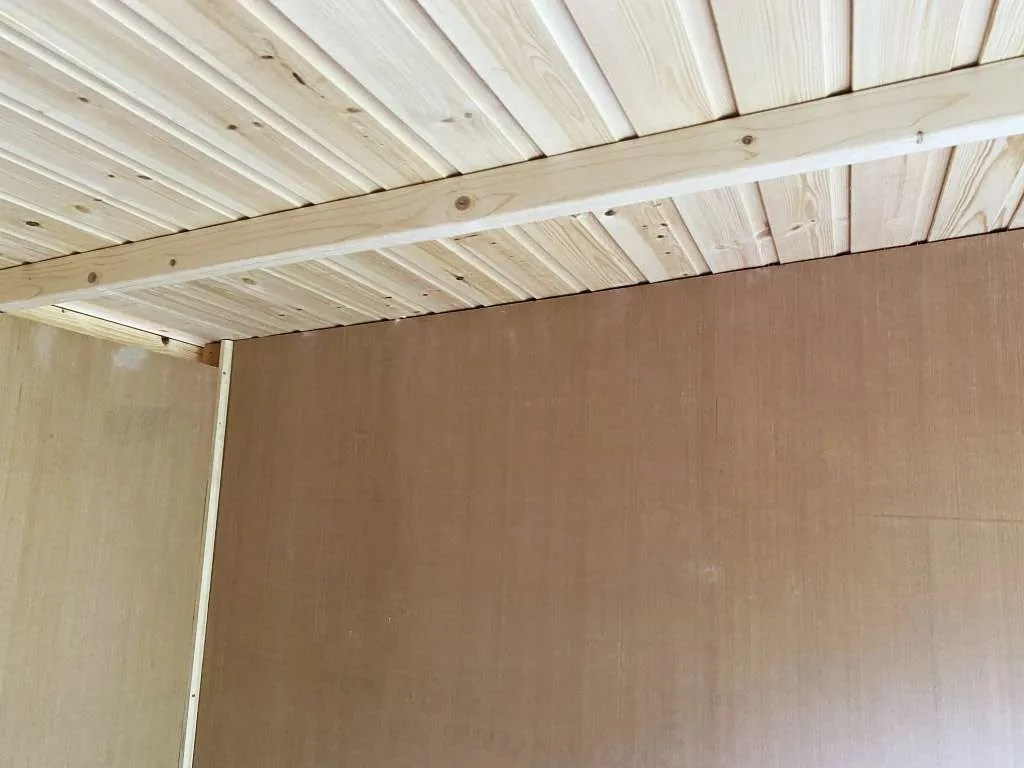 Roof framing before insulation.
