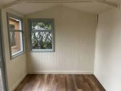 Interior of a summerhouse painted.
